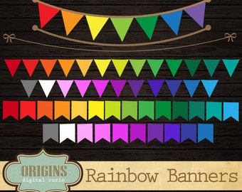 Rainbow Bunting Banner Flags, PNG Clipart set for Commercial Use, DIY Make Your Own party banner instant download