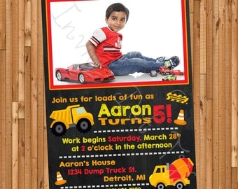 Construction Themed Printable Birthday Invitation with Picture!