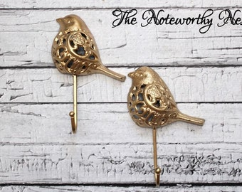 Single bird hook // gold hook // Cast Iron Wall Hook // Cast Iron Bird Hook // Cottage Decor // nursery decor // girls room // gold decor