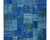 Blue Overdyed Rugs, Free shipping, Natural Patchwork, Area Rug, Old Carpet Rug, Handwoven Vintage Carpet, Turkish Rug, Anatolian Carpet