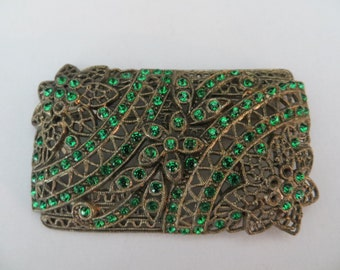 nice hard to find Large Vintage Edwardian  Green Rhinestone Pot Metal Brooch