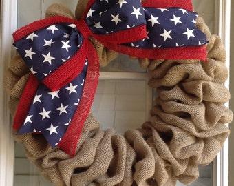 Patriotic Wreath - Patriotic Decor - Burlap Wreath - Door Wreath - Everyday Wreath - Door Decor - Front Door Wreath - Spring Wreath
