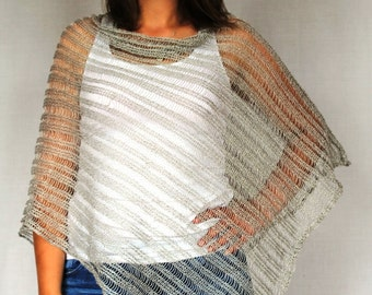 Pure Linen gray Pancho Cape Beige wrap poncho linen sweater pancho linen capeBeige Scarf Knit Shawl Modern Clothing Accessories