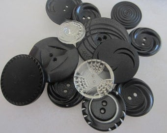 Black and Clear Vintage buttons. Celluloid and glass. Lot of 13 (Aug2)