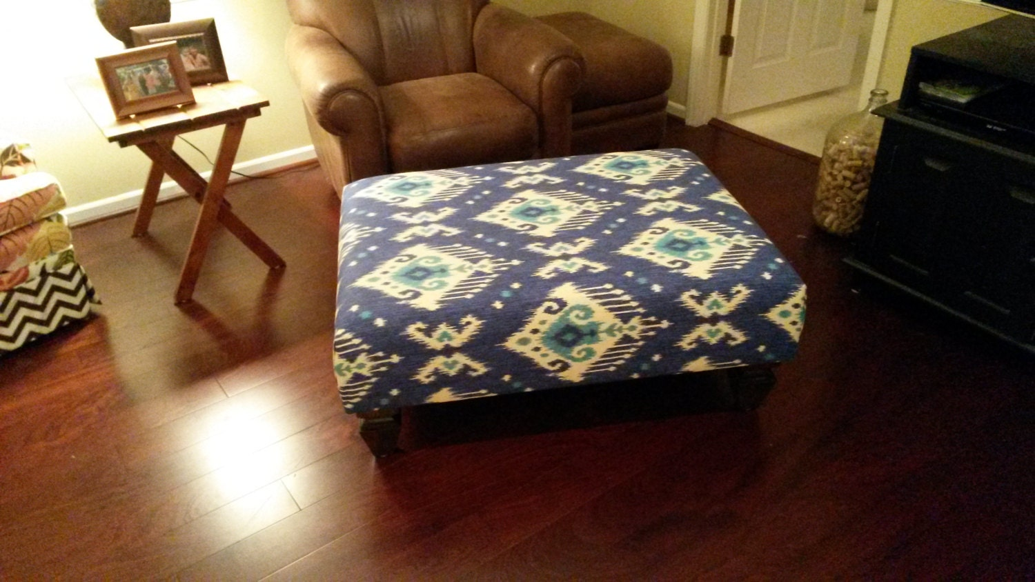 Upholstered Ottoman Coffee Table Blue Ikat By Theedenshouse