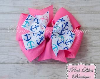 Nautical Pink and Blue Hair Bow - Pinwheel Hair Bow - Pink and Blue Anchor Pinwheel Bow - Nautical Pinwheel Hair Clip (Item #10178)