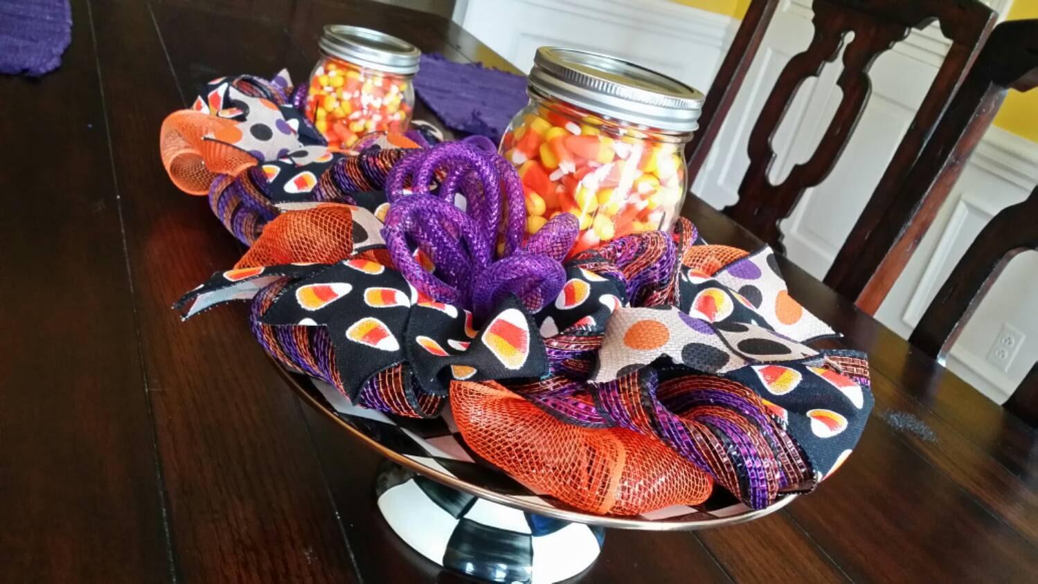 Halloween Centerpiece Mesh Candy Corn Decor By Underthekentuckysun