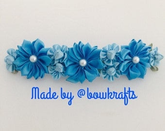 Mixed blue bun wreath