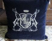 Luxury Monogrammed Velvet Cushion with Stag Crest & Tassels