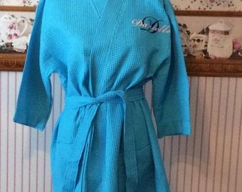 Monogrammed Waffle Kimono Short Robe Square Pattern - Personalized - TURQUOISE - Wedding Bride Pool Spa Robe