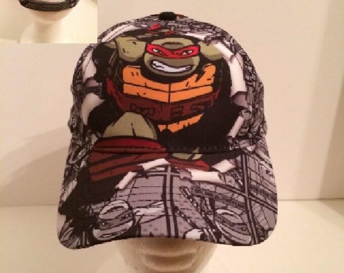 TMNT Teenage Mutant Ninja Turtles Boy's Grey Comis Strip Baseball Hat - Personalized
