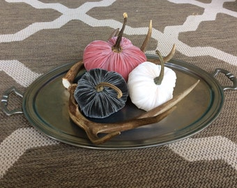 214     Trio of Silk Velvet Pumpkins with Real Pumpkin Stems