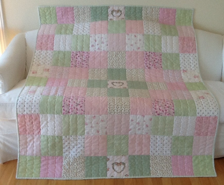 Shabby Chic Quilt Floral Heart Homemade Lap Quilt Throw