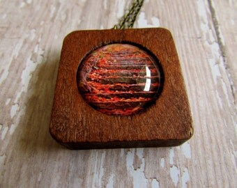 Wood and Glass Autumn Fall Leaves Pendant with Brass Chain
