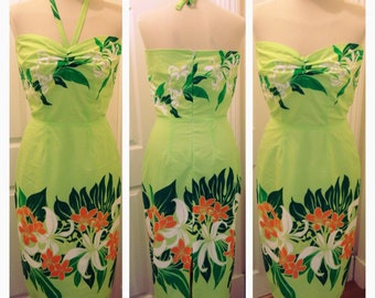 "1950s inspired hawaiian pencil dress - 27-28"" waist"