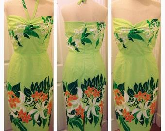 1950s inspired hawaiian pencil dress