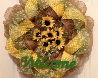 Spring deco mesh wreath, summer deco mesh wreath, spring wreath, summer wreath, sunflower wreath, flower wreath, mesh spring wreath