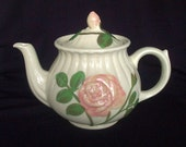 Early Shawnee Pottery Embossed Rose Teapot Flowers Rustic Primitive Cottage Chic