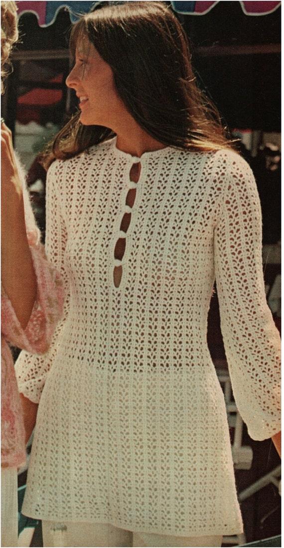 Crochet Dress Pattern Vintage 70s Crochet Tunic By