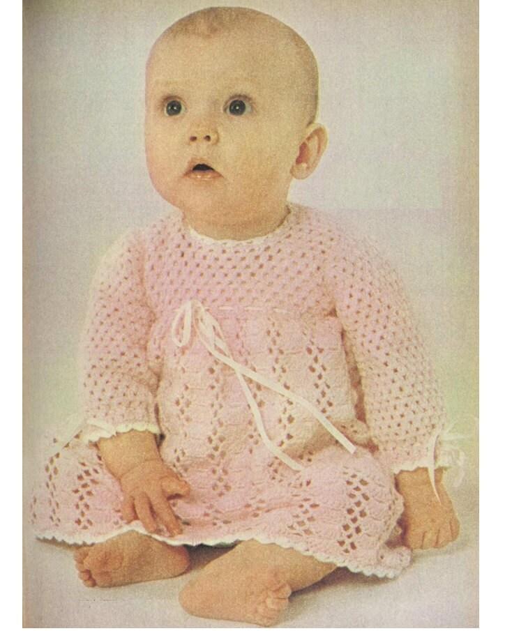 Crochet Baby Dress Pattern Vintage 70s Baby Girl Dress Long