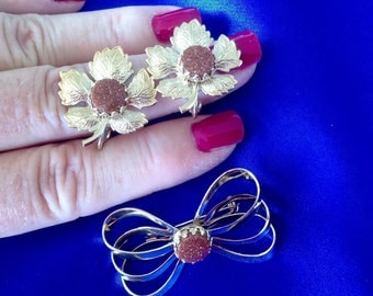 201} Vintage pin and clip on earrings