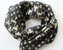 Houndstooth Square Silk Scarf small