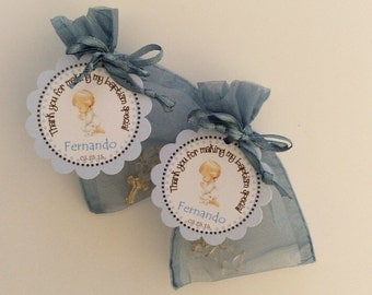 24 organza bags with mini rosaries included and thank you card- Boy Baptism favors- Christening Baptism boy favors -blue baptism favor