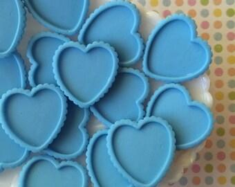 Bezel setting - Heart setting - blue heart - Blue resin heart shaped setting - 5 pcs - 1 inch heart setting frame - 1 inch heart - cabochon