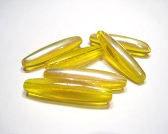 Czech Glass 27mm Elongated Oval - Yellow AB - Pack 6