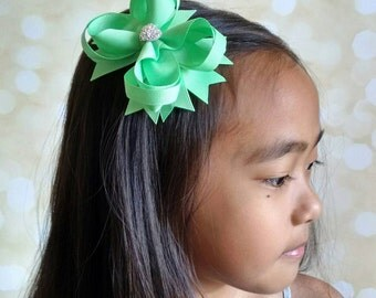 Girls Hair Bow, Boutique Hair Bow with Sparkly Heart, Mint Green Hair Bow, Wedding Bow, Birthday Bow, Back to School Bow, Gift for Girls