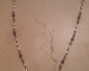 Vintage Sterling Silver Necklace Purple Stones 925 Jewelry