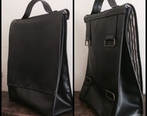 Handmade Recycled Black Leather Backpack