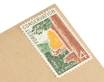 25 Vintage Forest Stamps - 4c - Forest Conservation from 1958 - Unused Postage - Quantity of 25