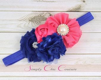 Royal Blue & Hot Pink Baby Headband, Baby Headband, Pink Headband, Flower Girl Headband, Newborn Headband, Toddler Headband, Flower Headband