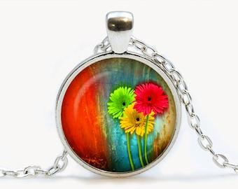 Gerbera pendant. Flowers necklace. Flowers jewelry. Birthday gift