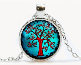Turquoise Tree of Life Glass pendant, Tree of Life  necklace , Tree of Life  jewelry, birthday gift