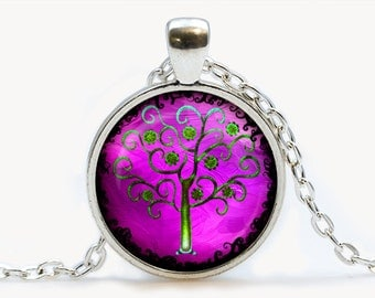 Purple Tree of Life Glass pendant, Tree of Life  necklace , Tree of Life  jewelry, birthday gift