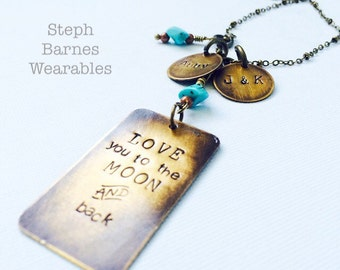 Love you to the moon and back necklace in bronze with turquoise details and two personalized accent pendants