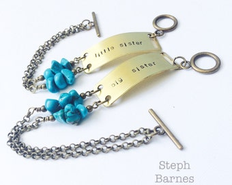 Big sister little sister bracelets with turquoise accent in bronze