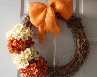 Door wreath, Hydrangea for Fall, Orange Burlap Bow, rust cream flowers bloom