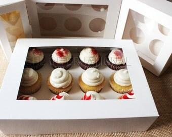 Cupcakes Muffins Boxes W/2-hole, 4-hole, 6-hole, 12-hole Inserts White