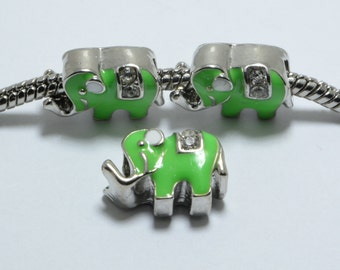 10pcs Elephant Enamel Beads with Crystals in Light Green, 10mm, European Style Large Hole Beads #SD-S7717