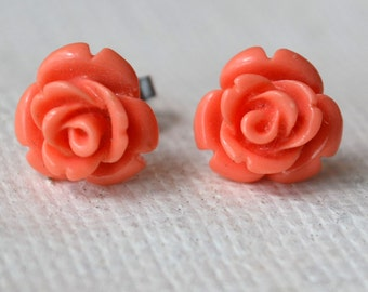 pink coral flower earrings, stud flower earrings,10.5mm bead earring, wedding earrings, bridesmaids earrings, flower shape earrings