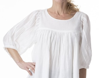 Roshanara Carmen white cotton tunic