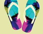 Summer Flipflops Wall Art Print, Flipflops Art Print,  Instant download, digital download, beach art, teen wall art, abstract art print