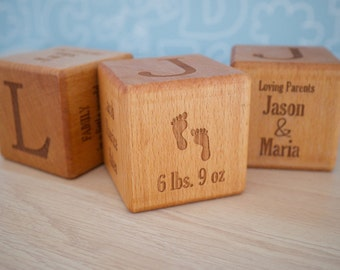 Baby blocks etsy 7cm wooden baby block laser engraved custom personalised beech wood new baby newborn negle Gallery