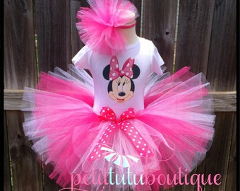 Adorable Minnie Mouse Birthday Tutu set any size available 12m to 8y FREE Headband Pink