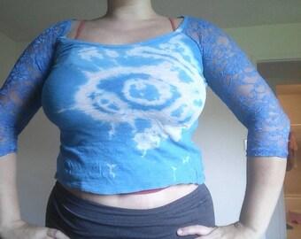 Blue lace tie dye top