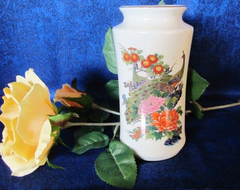 Vintage Satsuma Vase Crafted In Japan - hand painted mural depicts two peacocks surrounded by lovely flowers, leaves & berries. Collectible.
