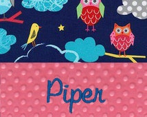 Personalized Minky Baby Blanket - Pink Minky and Night Life in Garden Owl Print - Pick Font - Embroidered with Name - Owl Baby Blanket